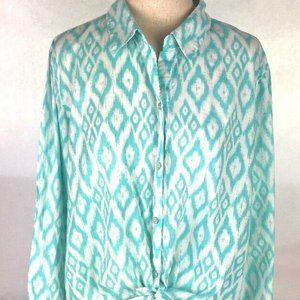 Chico's Open Tie Front Linen Blend TopTurquoise/ W